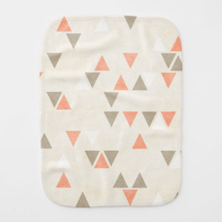 Mod Triangles Coral & Beige Gray Abstract Arrows Baby Burp Cloth