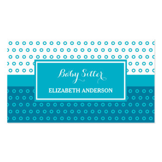 Mod Turquoise and White Polka Dots Babysitter Double-Sided Standard Business Cards (Pack Of 100)