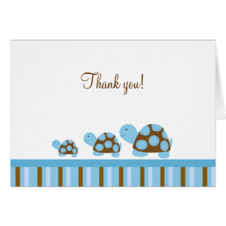 Mod Turtles (Blue) Folded Thank you notes Note Card