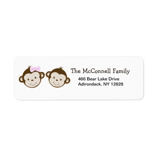 MOD TWIN MONKEYS PRINTABLE ADDRESS LABELS