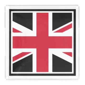 Mod Union Jack ~  Black, Red and White Acrylic Tray