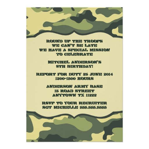 MOD Updated Army Camo Birthday Party invitation