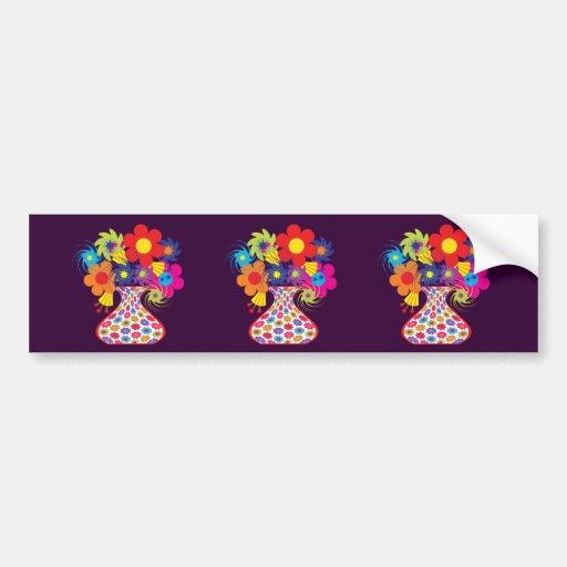 Mod Vased Floral Bumper Sticker