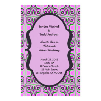 Mod Wedding Pink Mauve Pattern Custom Stationery