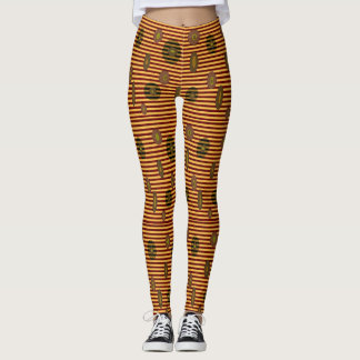 Mod Yellow Brown stripes circles Leggings