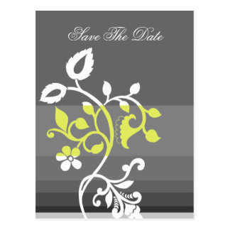 mod yellow gray save the date announcement postcard
