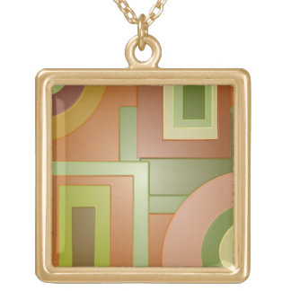 Mod yellow green circles squares abstract custom jewelry