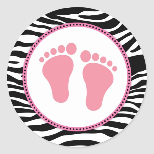 Mod Zebra Pink Baby Shower Favour Stickers