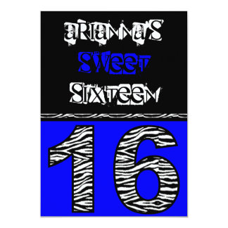 Mod Zebra Print Sweet Sixteen [blue] Card