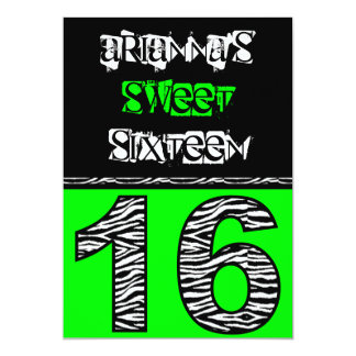 Mod Zebra Print Sweet Sixteen [green] Card