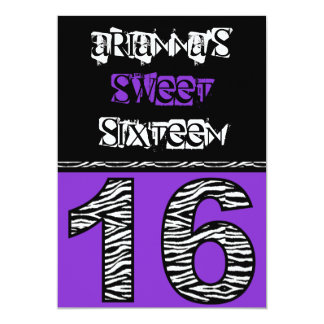 Mod Zebra Print Sweet Sixteen [purple] Card