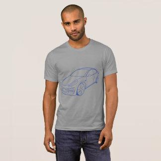 Model 3, Blue on Grey t-shirt men's