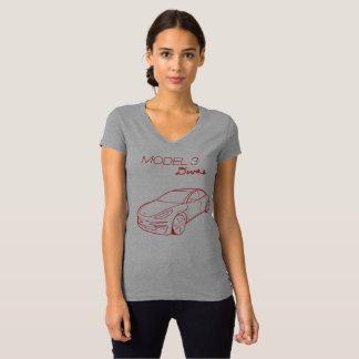 Model 3 Divas, Red v neck t-shirt