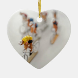 Model Cyclists Ceramic Heart Decoration