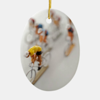 Model Cyclists Ceramic Oval Decoration