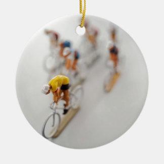 Model Cyclists Round Ceramic Decoration
