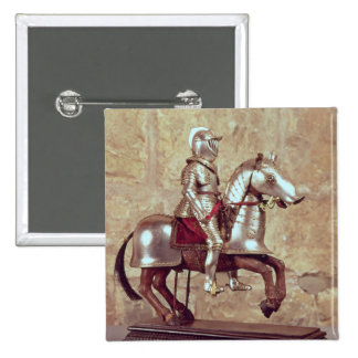 Model of a barded horse and rider, c.1640 15 cm square badge