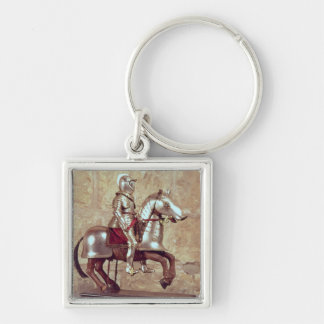 Model of a barded horse and rider, c.1640 Silver-Colored square key ring