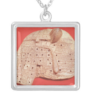 Model of a sheep's liver silver plated necklace