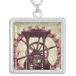 Model of a water wheel silver plated necklace