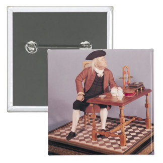 Model of Benjamin Franklin  at his table 15 Cm Square Badge