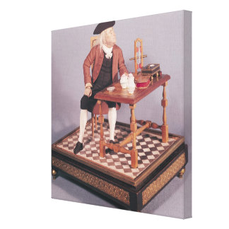 Model of Benjamin Franklin  at his table Canvas Print