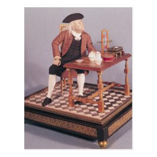 Model of Benjamin Franklin  at his table Postcard