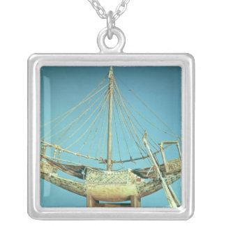 Model of one of the pharaoh's boats silver plated necklace