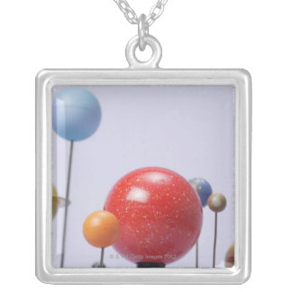 Model of planets silver plated necklace