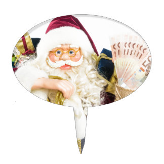 Model of Santa Claus with bell gifts and money Cake Toppers