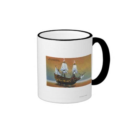 Model of the Mayflower in Pilgrim Hall View Mugs