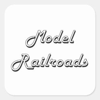 Model Railroads Classic Retro Design Square Sticker