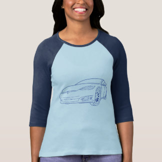 Model S Blue, New Nose, Navy/Baby Blue Reglan T-Shirt