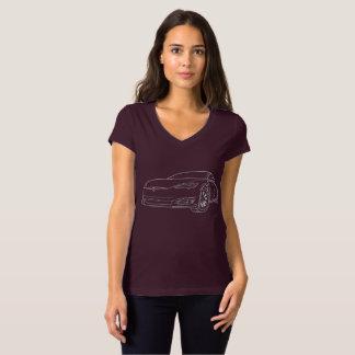 Model S Silver, Plum v neck T-Shirt
