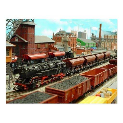 Model Train Station Postcard