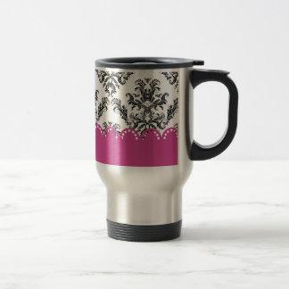 Modelo B W del vintage con rosa Tazas De Café