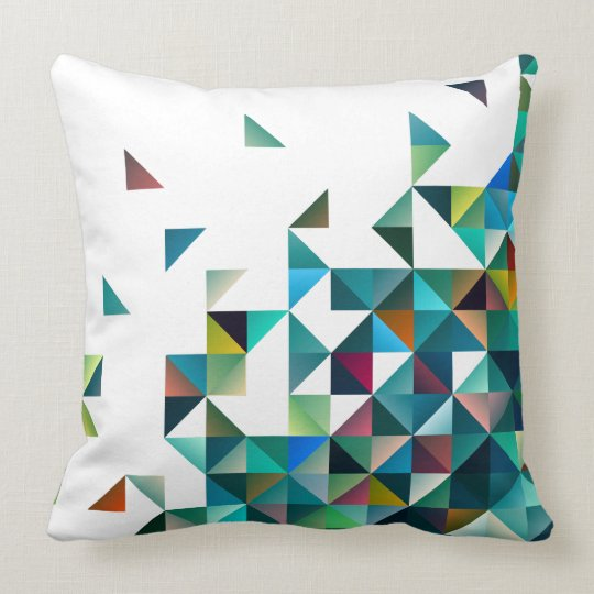 Moder Colourful Geometric Shapes Triangles Pattern Cushion