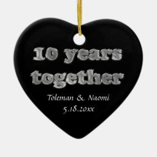 Modern 10th Wedding Anniversary Ceramic Heart Decoration