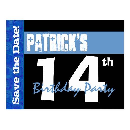 Modern 14th Birthday Save the Date Black Blue V14A Postcard