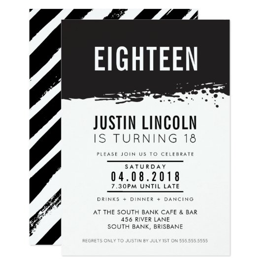 MODERN 18th birthday party INVITE paint splatter