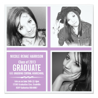 Modern 2013 Color Violet Purple 3 Photo Graduation 13 Cm X 13 Cm Square Invitation Card