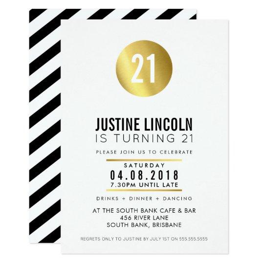 MODERN 21ST birthday party INVITE gold spot black