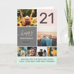 Modern 21st birthday pink 6 photo collage grid card