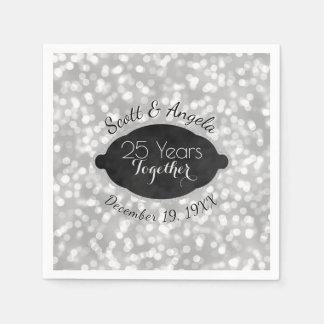 Modern 25th Silver Wedding Anniversary Personalize Disposable Napkin
