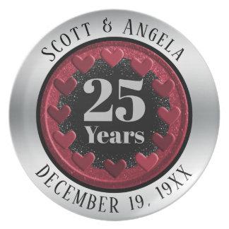 Modern 25th Wedding Anniversary Keepsake 25 Years Plate