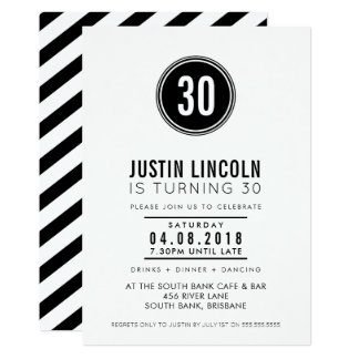 MODERN 30TH birthday party INVITE plain spot black
