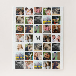 Modern 34 Family Photos & Initial Letter Jigsaw Puzzle