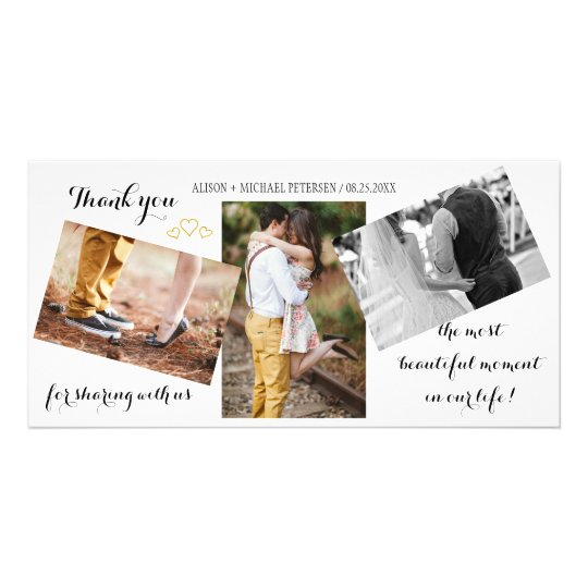 Modern 3 photo collage wedding script thank you