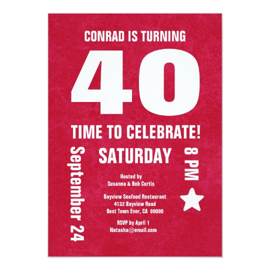 Modern 40th Birthday or Any Year Chevron Back Card