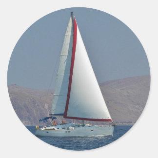 Modern 47 Foot Yacht Classic Round Sticker